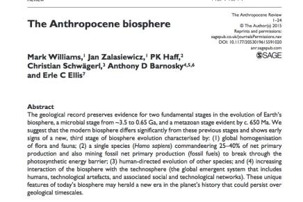 Die Biosphäre des Anthropozäns